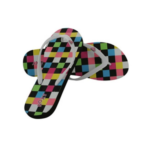 Roxy Heart Flip Flops (Black)